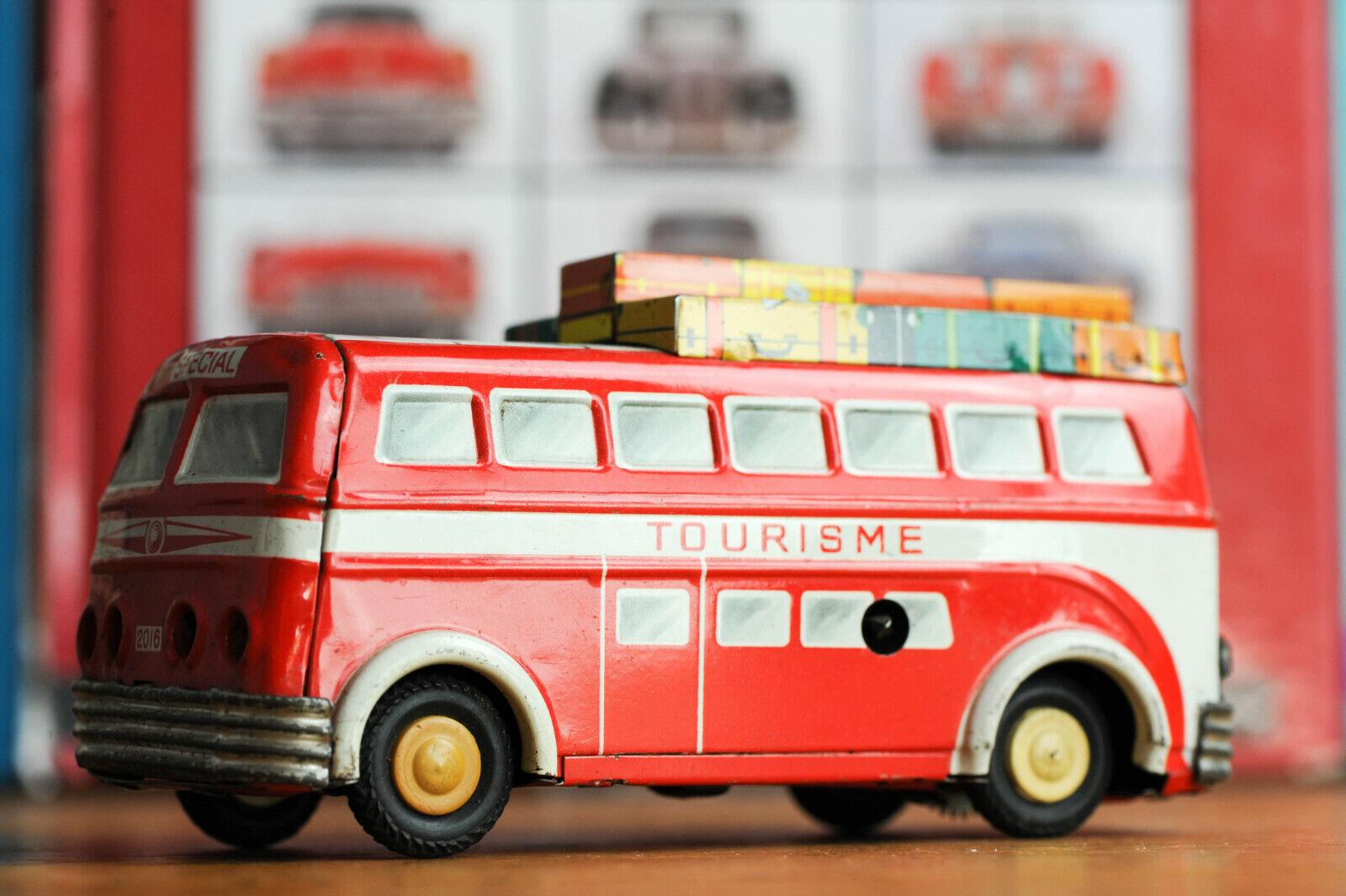 Antique De Estaño Juguete trabajando Joustra Francia XVI Bus Touring Car artículo Raro
