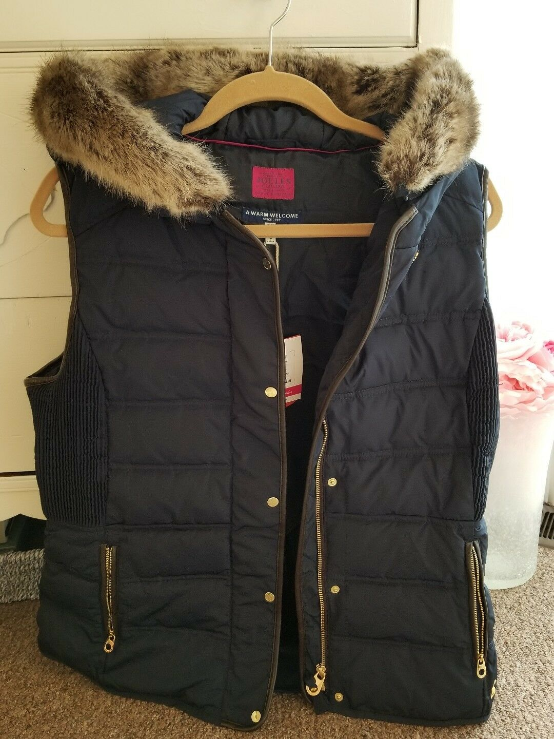 BRAND NEW BRITISH JOULES HOODED VEST NAVY blueE SIZE 10