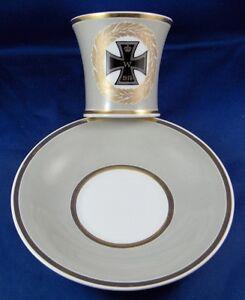 Antique-KPM-Berlin-Porcelain-WWI-Iron-Cross-Cup-amp-Saucer-Porzellan-Tasse-German