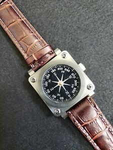 Joe Lear Surveyor Wrist Compass with Leather Band for Hiking, Hunting, Camping