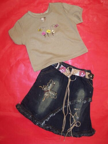 SIZE 1 TO 6 BNWT GIRLS TOP AND DENIM SKIRT