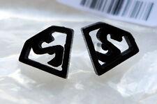 Earrings Gothic Punk Black Superman Stainless Steel Men's Ear Stud Earring