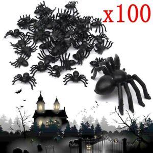 100pcs-Plastic-Black-Spider-Trick-Toy-Party-Halloween-Haunted-House-Prop-Decor