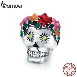 Bamoer-Solid-S925-Sterling-Silver-CZ-charms-RED-Flower-Skull-For-Women-Bracelets