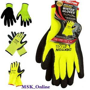 Dekton Comfort Grip Working Gloves Black//Hi Vis Green Latex Foam 10//Xl