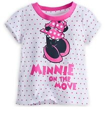 Disney Store MINNIE MOUSE Striped Toddler Girls TEE T-SHIRT Hawaii 18-24 months