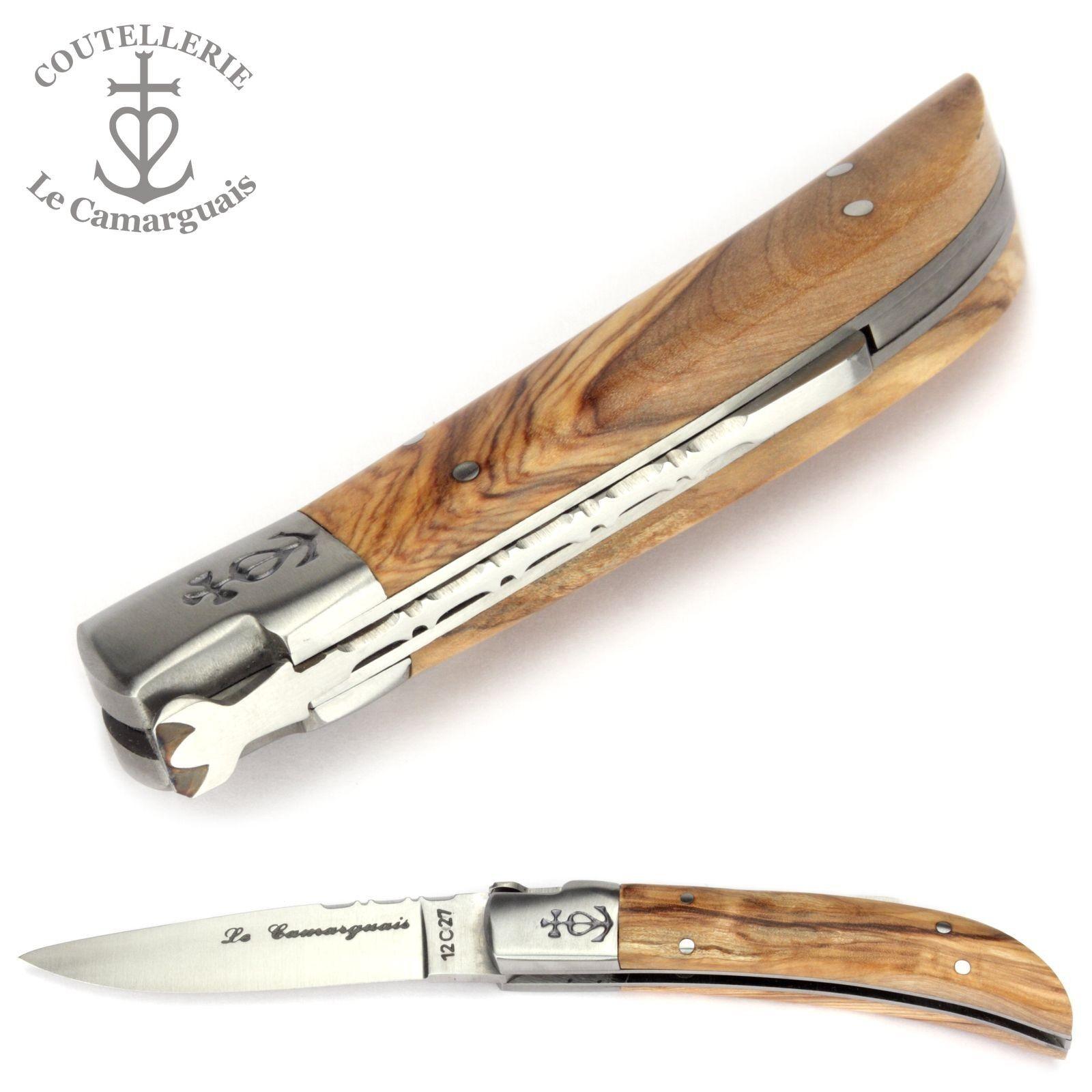 Le Camarguais Taschenmesser 10 cm Griff Olivenholz - - Olivenholz Messer Camargue Frankreich 7514b2