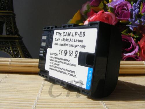LP-E6 Batería//LCD Dual Cargador para Canon 6D Mark 5D 60D 7D 80D DSLR II Cámara