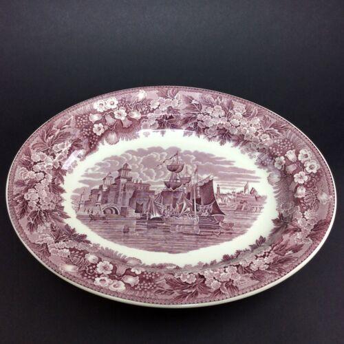 Wedgwood Porzellan Ferrara Violett Lila Plum Schiff Platte 32,5 x 26 cm #2323-24
