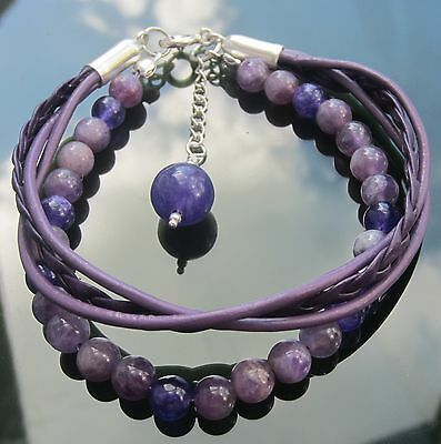 Purple Leather Cord Bracelet with 925 Silver Clasp and Amethyst Beads