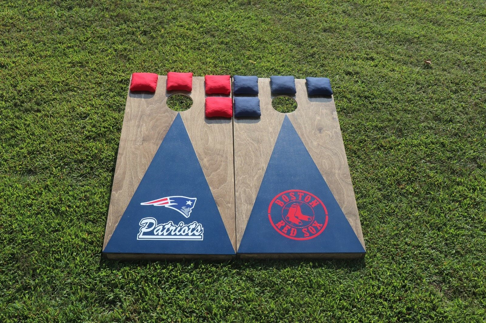 Boston Red Sox New England Patriots Cornhole Boards w  8 bags