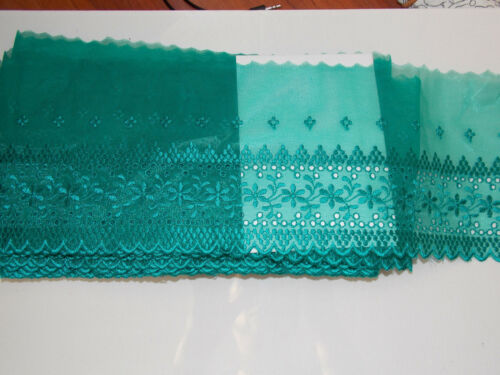 14.5cm wide teal embroidered tuile lace bridal wedding dress trim net