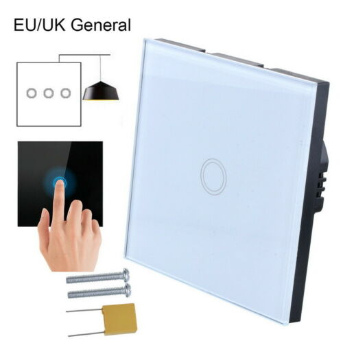 UK 1-2-3 Gang LED Light Touch Switch Tempered Glass Wall Screen Smart Light