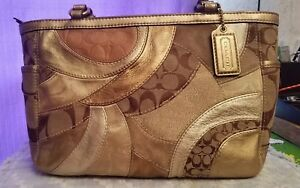 Coach-Carly-Gold-Patchwork-Shoulder-Bag-Tote-Satchel-Handbag-Purse