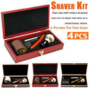 4Pcs-Homme-Rasage-Barbe-Blaireau-Rasoir-Pour-Barbier-Salon-Outil-Kit-Cadeau
