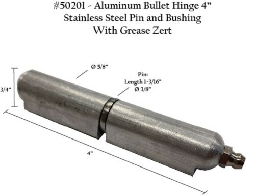 "Aluminum Body with SS pin /& bushing grease zerk 50201 ONE  4/"" Hinge"