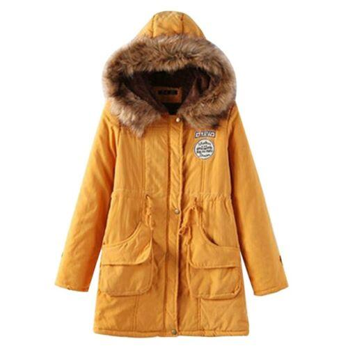 Winter Jacket Women  Coat Outwear Long Female Snow Zipper Parkas Wool Hat Belt