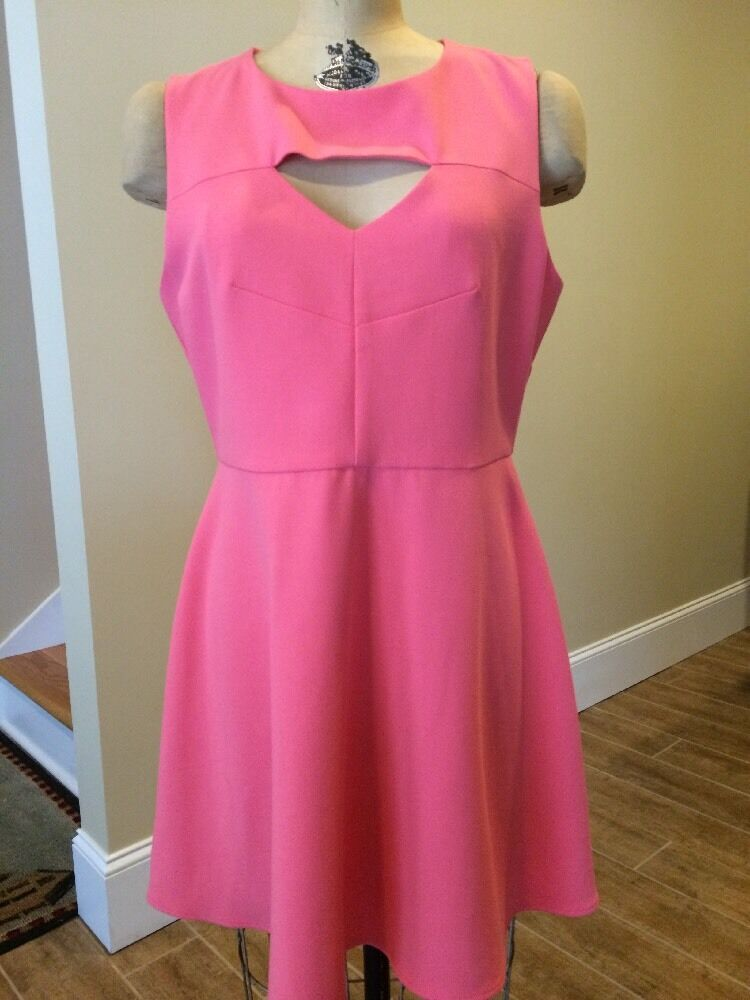 French Connection Coral Pink Cut Out A-Line Sleeveless Dress Size 12 NWT