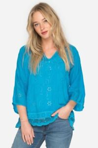 Johnny-Was-Blue-Eyelet-Charming-Women-039-s-Tunic-Top-New-Boho-Chic-C25218-MBL