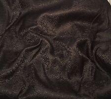 Silk BROCADE Fabric BLACK SCROLL -By The Yard-