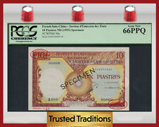 TT PK 96s 1953 FRENCH INDO-CHINA 10 PIASTRES PCGS 66 PPQ GEM NEW NONE FINER