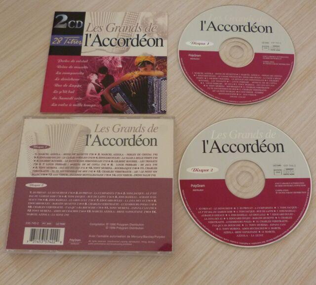RARE 2 CD ALBUM COMPILATION LES GRANDS DE L'ACCORDEON 28 TITRES 1996