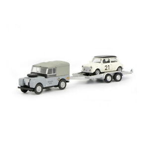 Schuco 452632700 Land Rover 88 With Car Trailer And Mini Cooper 1