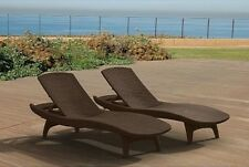 Keter Chaise Lounge 2 Pack Brown Rattan Durable UV Outdoor Patio Furniture Pool