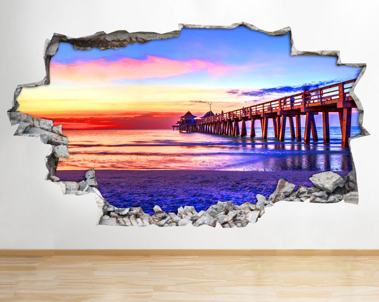 BB557 OCEAN BEACH MOLO TRAMONTO CIELO rossoto murali 3D 3D 3D ARTE Adesivi Vinile Stanza 2b6dfd