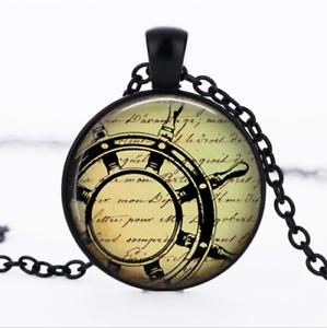 Captain/'s Wheel Black Glass Cabochon Necklace chain Pendant Wholesale