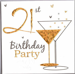 pack of six 21st birthday party invitations gold champagne glass ebay