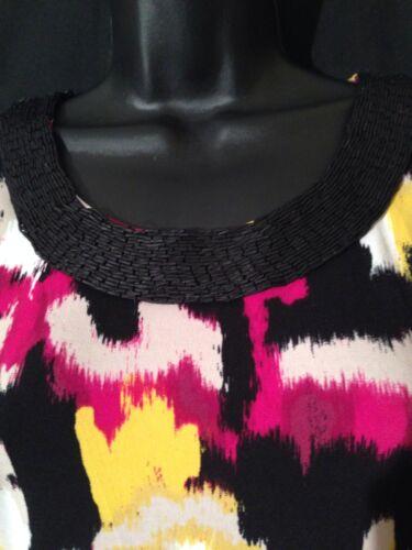 Knit Magenta Art 69 impreziosito collo Pp motivo colletto nero Nwt con Ikat Alfani Top nqxvOHw