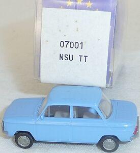 NSU-tt-voitures-lilablau-Mesureur-EUROMODELL-07001-h0-1-87-OVP-ll1-a