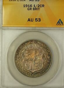 1916-Great-Britain-Half-Crown-Silver-Coin-ANACS-AU-53-Beautiful-Toning
