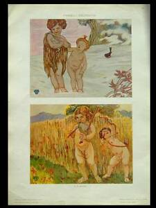 CHILDREN-1910-PHOTOLITHOGRAPH-G-B-GRANDI-ART-NOUVEAU-PUTTI