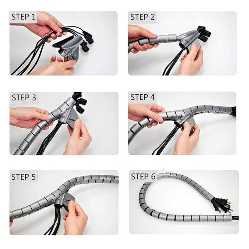 3 X Negro 2 Metro de Cable Tidy Kit de herramienta de envoltura de cable de organizar espiral Office Hogar