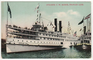 STEAMER-MORSE-PC-Postcard-USS-C-W-MORSE-ID-1966-People-039-s-Line-NEW-YORK-Boat-SHIP