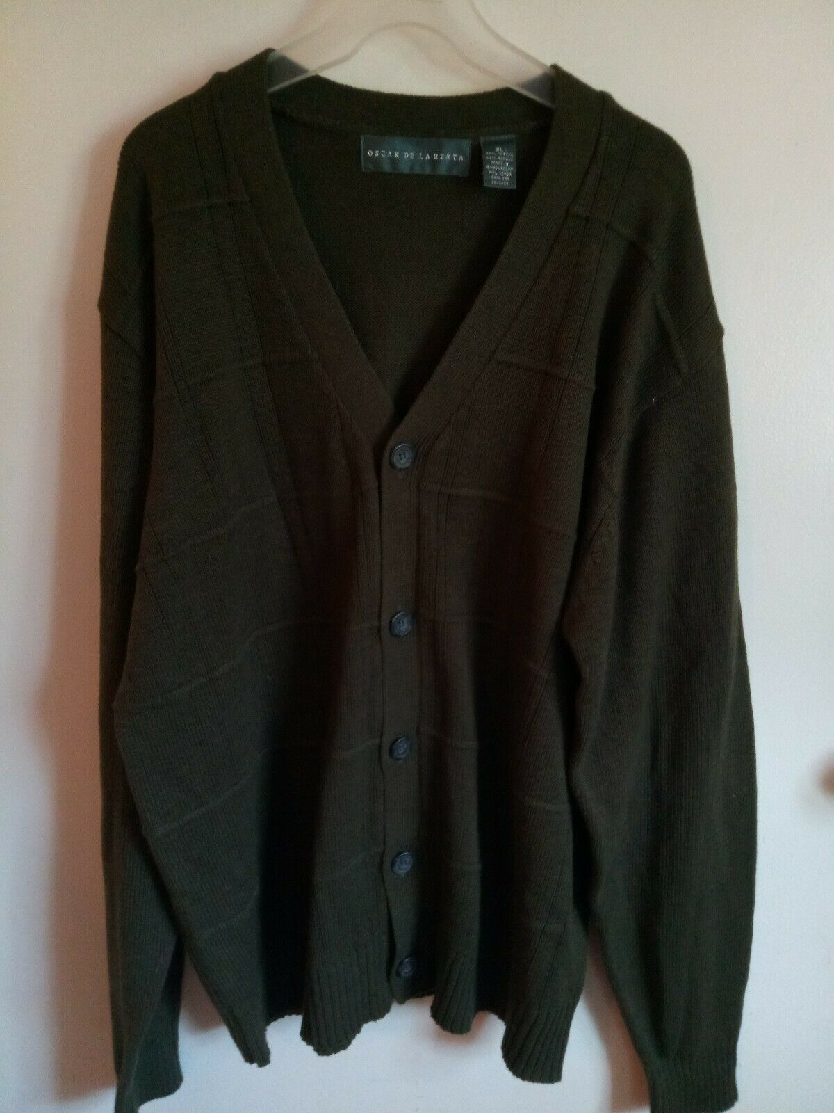 Oscar De La Renta Men's Forrest Green Button Sweater Size XL