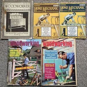 5-Old-Magazines-Woodworker-1934-Practical-Woodworking-1968-Home-Mechanic-Newnes
