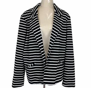 Autograph Womens Black/White Striped Single Button Lined Jacket Plus Size 20