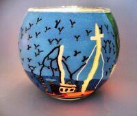 Teelichtglas Fisherboat, Cup, leuchtende Farben, maritim, Fischerboot, Höhe 9cm