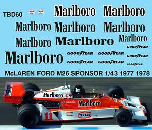 1/43 Mclaren Ford M26 1977 1978 Sponsor Decals Tb Decal Tbd60 Demande DéPassant L'Offre