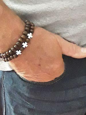 2 Herren-damen,20-21cm Armbänder Modeschmuck Biker Surf Rocker Punk ReligiÖse Holzperlen Armband,neu