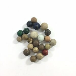 Antique-Vintage-Stone-Marbles-Lot-of-23-Blue-Green-Brown-Cream-Round-1-2-034-3-4-034