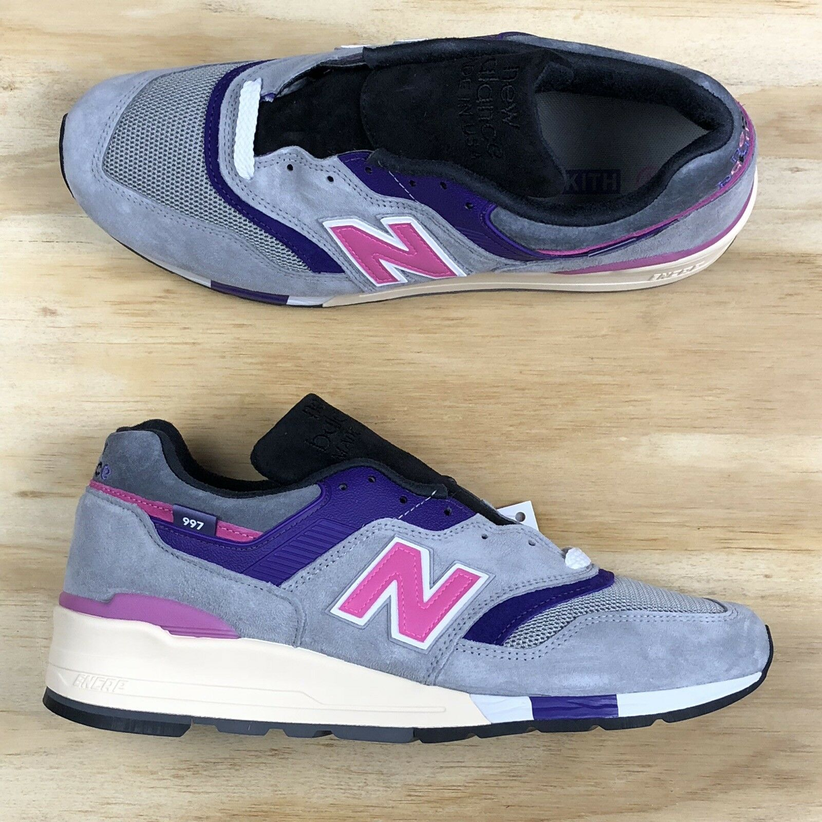9ee6faac54e3 New Balance 997 Kith Kith Kith x United Arrows And Sons Made In USA Grey  Pink ...