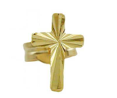 ECHT GOLD *** Herren Einzelner Zirkonia Kreuz Ohrstecker 12 mm