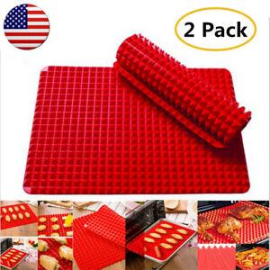 Silicone-Baking-Sheet-2-Pack-Pyramid-Mat-Pan-Non-Stick-Fat-Reducing-Cooking-US