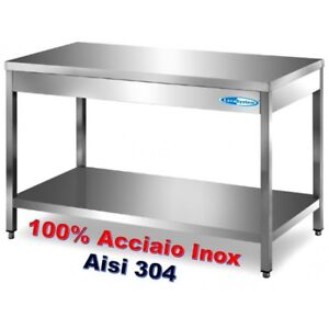 Tavolo In Acciaio Inox Cm 100x70x85 90h Banco Lavoro Professionale Cucine Ebay