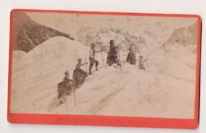 Vintage-CDV-Hikers-on-Mer-de-Glace-Sea-of-Ice-Mont-Blanc-F-Charnaux-Photo