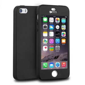 Details about Black iPhone 5 Case Full Body 360 Fitted Cover Glass Screen Protector Also 5S SE